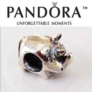 790252 Rare Retired Pandora Rhino Charm